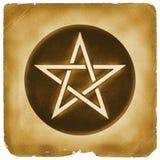 Vecchia carta di simbolo magico del pentacolo Fotografie Stock Libere da Diritti