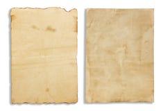 Vecchia carta per appunti marrone isolata su fondo bianco Fotografie Stock
