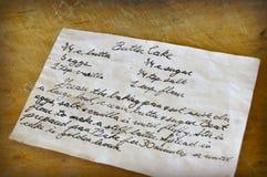Vecchia carta scritta a mano di ricetta Fotografia Stock