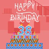 Vecchia cartolina rosa del dolce di buon compleanno trentottesimo - iscrizione della mano - calligrafia fatta a mano illustrazione di stock