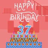 Vecchia cartolina rosa del dolce di compleanno buon trentasettesimo - iscrizione della mano - calligrafia fatta a mano royalty illustrazione gratis