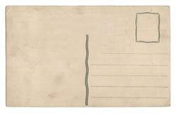 Vecchia cartolina vuota isolata su bianco immagine stock