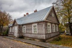 Vecchia casa antica tipica per la città di Trakai fotografia stock libera da diritti