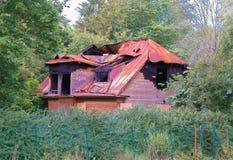 Vecchia casa bruciata Fotografie Stock