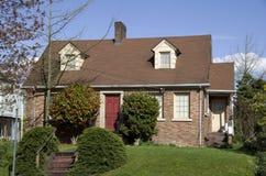 Vecchia casa con mattoni a vista americana Fotografie Stock Libere da Diritti