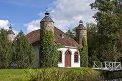 Vecchia casa della latteria della proprietà terriera con le torri in Heimtali Fotografia Stock