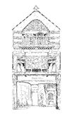 Vecchia casa di città inglese con il piccolo negozio o affare sul pianterreno Via schiava, Londra abbozzo Immagine Stock