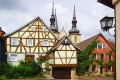 Vecchia casa di Fachwerk in Weikersheim. Fotografie Stock