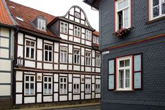 Vecchia casa di Fachwerk in Wolfenbuttel. Fotografie Stock Libere da Diritti