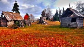 Vecchia casa di legno abbandonata in Romania fotografia stock