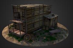 Vecchia casa di legno ad ovest Immagini Stock