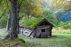Vecchia casa di legno sul modo a Briksdalsbreen, Norvegia Immagine Stock