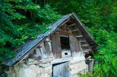 Vecchia casa di legno vicino alla foresta ed al prato inglese immagine stock libera da diritti