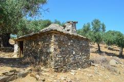 Vecchia casa di pietra greca Fotografie Stock Libere da Diritti