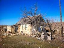 Vecchia casa di pietra sotto un albero asciutto Fotografia Stock