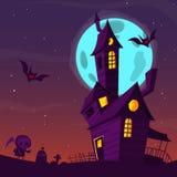 Vecchia casa frequentata spettrale con i fantasmi Fondo del fumetto di Halloween Illustrazione di vettore Fotografia Stock Libera da Diritti