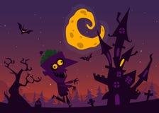 Vecchia casa frequentata spettrale con i fantasmi Fondo del fumetto di Halloween Illustrazione di vettore Fotografie Stock