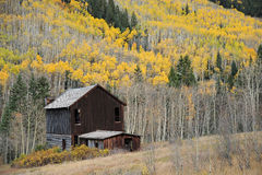 Vecchia casa nella foresta di autunno Fotografie Stock