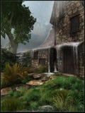 Vecchia casa nella pioggia Fotografie Stock Libere da Diritti