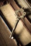Vecchia chiave con i libri antichi, colore d'annata Immagine Stock