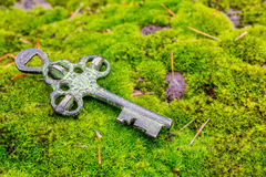 Vecchia chiave del tesoro immagini stock