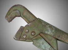 Vecchia chiave di alligatore su fondo grigio Fotografia Stock