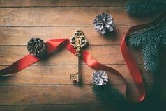 Vecchia chiave dorata con l'arco ed i coni Fotografia Stock
