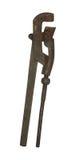 Vecchia chiave stringitubo arrugginita isolata su fondo bianco Fotografia Stock Libera da Diritti