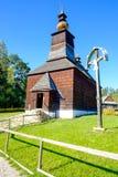 Vecchia chiesa di legno slovacca tradizionale in Stara Lubovna, Slovacchia Immagine Stock Libera da Diritti