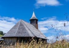 Vecchia chiesa di legno in Svizzera con erba nella priorità alta Fotografia Stock Libera da Diritti