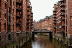 Vecchia città del porto di HamburgFotografie Stock Libere da Diritti