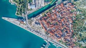 Vecchia città della vista aerea di Cattaro Immagine Stock Libera da Diritti