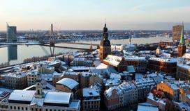 Vecchia città della vista aerea di Riga Fotografia Stock