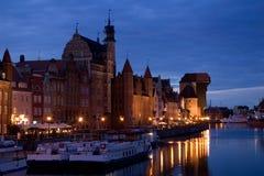 Vecchia città di Danzica alla notte Fotografie Stock Libere da Diritti