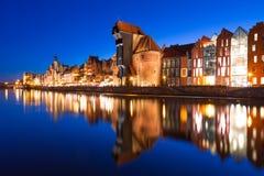 Vecchia città di Danzica alla notte Fotografia Stock Libera da Diritti
