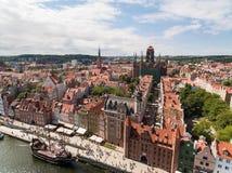 Vecchia città di Danzica, vista aerea fotografie stock libere da diritti