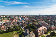 Vecchia città di Danzica, vista aerea immagini stock