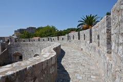 Vecchia città di Dubrovnik - la città mura il particolare fotografie stock