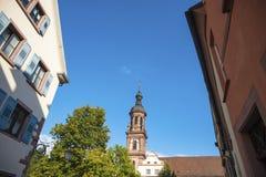 Vecchia città di Gengenbach con il san Marien della chiesa della città Immagini Stock Libere da Diritti