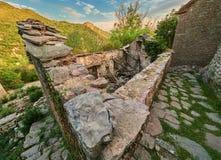 Vecchia città di Gornja Lastva vicino a Teodo, Montenegro fotografia stock libera da diritti