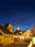 Vecchia città di notte Fotografia Stock