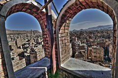 Vecchia città di Sana'a in HDR Immagine Stock