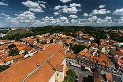 Vecchia città di Vilnius da sopra Fotografie Stock Libere da Diritti