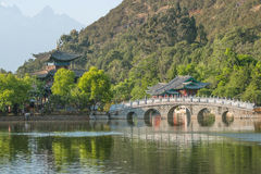 Vecchia città Dragon Pool Park scena-nero di Lijiang immagini stock libere da diritti