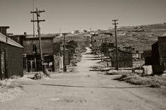 Vecchia città fantasma in bianco e nero Immagini Stock Libere da Diritti
