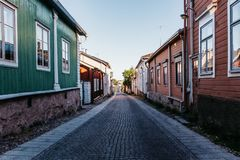 Vecchia città in Finlandia nella città di Rauma immagini stock libere da diritti