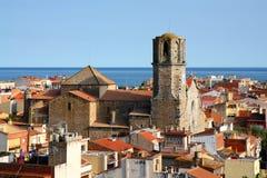 Vecchia città in Malgrat de marzo, Spagna Fotografia Stock
