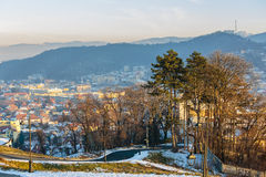 Vecchia città nell'inverno Fotografia Stock
