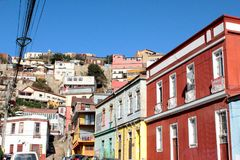 Vecchia città pacifica del porto marittimo di Valparaiso, sito del patrimonio mondiale e capitale culturale del Cile fotografie stock