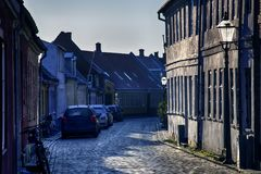 Vecchia città Ribe in Danimarca fotografie stock libere da diritti